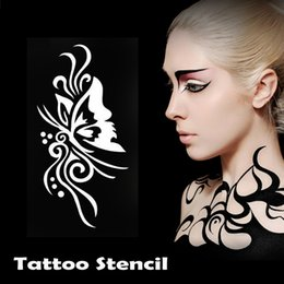 body template for tattoo design NZ - New 50pcs lot Temporary Glitter Tattoo Stencils Airbursh Template For Flash Body Art Paint With 1000 Mixed Designs