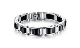 $enCountryForm.capitalKeyWord UK - Fashion Men Sleek Stainless Steel Magnetic Germanium Hematite Therapy Bracelet Pure Titanium Energy Power Health Care Biker Bracelet Chain