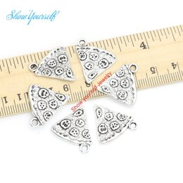 Wholesale 18pcs Tibetan Silver Plated Pizza Best Friends Charms Pendants for Bracelet Necklace Jewelry Making DIY Handmade Craft x19mm