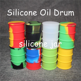 Oil Barrel Drum Canada - silicone oil barrel container jars dab wax oil rubber drum shape container 26ml large silicone dry herb dabber tools FDA approved