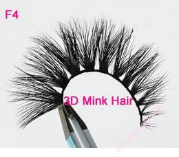 Mink Hair False Eyelashes Canada - F4 100% handmade real mink hair long false eyelash 3D strip mink lashes thick fake faux eyelashes Makeup beauty tool