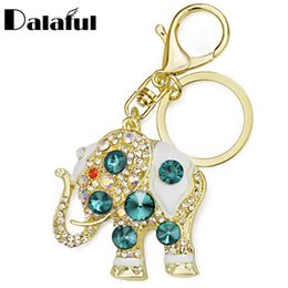 Chinese  Amazing Elephant Crystal Bag Pendant Purse Bag Buckle Trendy Key chains Holder Keyrings Keychains For Car K189 manufacturers