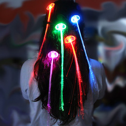 Extension Toys Canada - Light Up LED Hair Extension Flash Toys Braid Party girl Hair Glow by fiber optic For Party Christmas Halloween Night Lights Decoration B