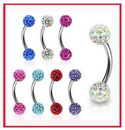 1.2*8*3 3 Eyebrow ring Body Jewelry piercing jewelry fashion Bending bar Shambhala ball eyebrow nail ring lip ring nose ring tongue ring on Sale