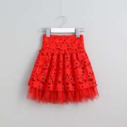 Barato Saia Do Vintage Do Laço Do Bebê-Sweet Girls Tutu Lace Saias Ruffles Western Vintage Red Party Saias Princess Baby Girls Sweet Clothing