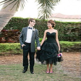 Short Orange Sweetheart Prom Dresses Canada - Gothic Short Prom Dresses Tea Length Black Sweetheart Neck Formal Party Ball Gowns 2016 Tulle Ruffles Tiered Cheap Homecoming Dress