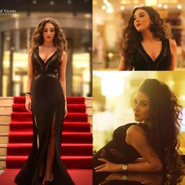 $enCountryForm.capitalKeyWord Canada - Sexy Black Plunging V Neck Long Evening Dresses Side Split Cutaway Sides Mermaid Prom Dresses Custom Made Pageant Celebrity Gowns Arabic