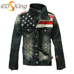 Chinese  Wholesale- New American flag jeans jacket for men Fashion motorcycle jeans short jacket do old jeans denim coat manufacturers