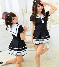 Barato Mulheres Vestidas De Meninas Da Escola-New Cute Navy Women Dress / Students Uniform Lace Dress / Sexy Japanese School Girl Sailor Uniform Maid Cosplay Costume 190431