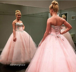 Robes De Soirée Pour Filles 12 Ans Pas Cher-2017 Adorable Pink Quinceanera Dress Princess Puffy Beaded Ball Gown Sweet 16 ans Long Girls Prom Party Pageant Gown Plus Size Custom Made