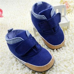 Barato Botas De Qualidade Infantil-Atacado- Newborn Baby Kid Boy Crib Shoes Anti-Slip Toddler Ankle Boots Canvas Prewalker First Walkers 0-18M Higt Quality