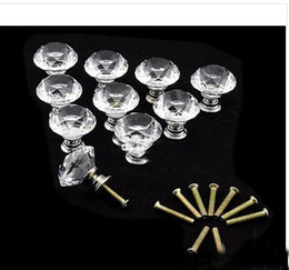 Crystal Pull Cabinet Handles Canada - 20 pcs Lot 30mm Diamond Shape Crystal Glass Cabinet Handle Cupboard Drawer Knob Pull Wholesale Free Shipping