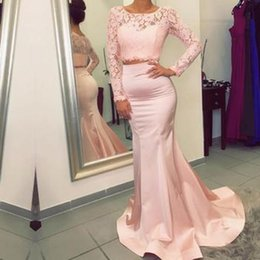 Barato Azul Cabido Vestidos Longos-Elegant Blush Pink Mermaid Prom Dress Duas peças Sheer Neck Illusion Lace Long Sleeve Fit Prom Dresses Cheap Evening Party Gowns