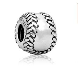 $enCountryForm.capitalKeyWord UK - Fits Pandora Bracelets 30pc Sports Baseball Silver Charm Beads Big Hole Bead Charms For Wholesale Diy European Necklace Snake Chain Bracelet