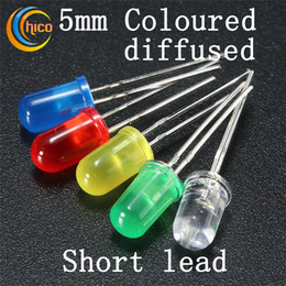 5mm led diodes dip led diffused light emitting led bead round head led chip red green blue yellow orange short lead free shipping cheap 5mm led lights