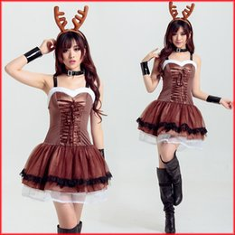 Vestidos De Noche Lindos Baratos-En Stock 2017 Vestido de Navidad Cute Deer Animal Cosplay Trajes de color de café corto Tiered Prom Dresses Evening Wear