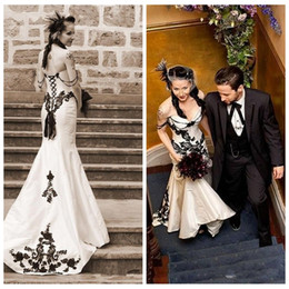 Discount Gothic Red Black Corset Wedding Dresses | 2018 Gothic Red ...