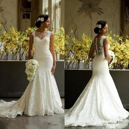 AmAzing wedding dress luxury online shopping - Luxury African Mermaid Lace Wedding Dresses Amazing Back Covered Buttons Wedding Bridal Gowns Chapel Train