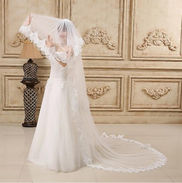 elegant plain wedding dress Australia - New Hot Top High Quality Amazing Elegant Luxury Romantic Chapel Lace Applique veil With Pearl Bridal Head Pieces For Wedding Dresses