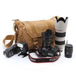 $enCountryForm.capitalKeyWord Australia - Professional DSLR Canvas Camera Bag Travel Photo Bag Single Shoulder Backpack for Sony Canon Nikon Olympus