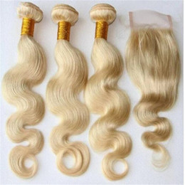 613 closure piece Canada - 8A Blonde Peruvian Virgin Hair Body Wave Weave Weft 3 Bundles With Lace Closure #613 Blonde Human Hair Extensions With Top Closures Piece