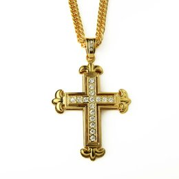 Real gold chain pendant foR men online shopping - Real Gold Plated Crystal Cross Pendant Necklace For Men Hiphop Jewelry Necklaces Mens Silver Hiphop Long Chain Necklace