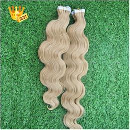 used human hair 2019 - Virgin Brazilian Use of human hair Body Wave 613 Bleach Blonde Tape In Hair Extensions Human 40 Piece PU Skin Weft Hair