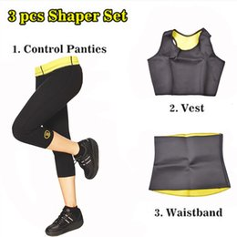 Barato Vender Corpo Shapers-Atacado-Hot Shapers (Controle Pants + colete + cintura) Venda Super Estiramento Neoprene Corpo Shapers Slimming Sets LIKA