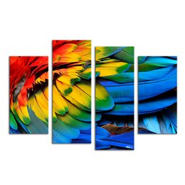$enCountryForm.capitalKeyWord UK - 4 Pieces HD Printed Colorful Bird Feather Painting Modern Canvas Wall Art Home Wall Pictures for Living Room Home Gift SJMT1917