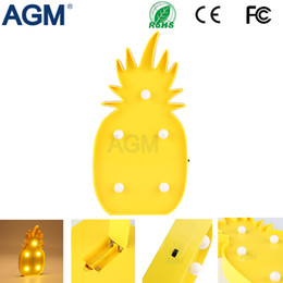 China Wholesale- AGM Pineapple Marquee LED Nightlight Battery Operated Desk Table 3D Lamps For Kids Bedroom Home Decoration Night Light cheap pineapple table lamps suppliers