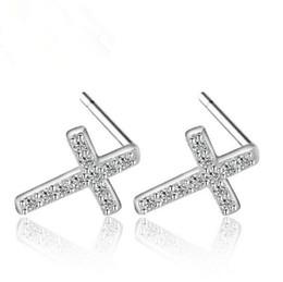 $enCountryForm.capitalKeyWord Canada - Fashion Women Korean 925 Sterling Silver Plated Crystal Zircon Cross Charm Brand Stud earrings Jewelry ED080