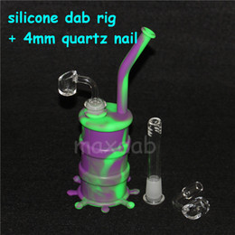 cool hookah bong UK - Silicon Rigs with 4mm quartz nail Waterpipe Silicone Hookah Bongs Silicon Dab Rigs Cool Shape silicone wax containers silicone bubbler bong