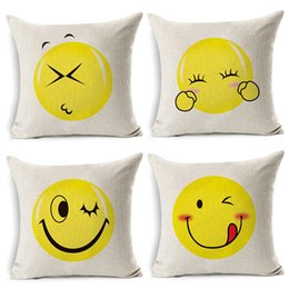 TexTile digiTal prinTing online shopping - Emoji Pillow Case Digital Printed Cushion Creative Expression Bolster Durable Flax Cover Home Textile Decor Many Style Select py R