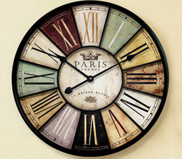 home decor large wall clock 60cm antique style mute iron crafts vintage old wall watch with roman number