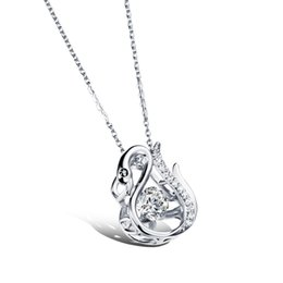 yellow gold lockets UK - TCN JEWELRY Cute Swan Pendant Necklaces Fashion Woman's Platinum Champagne Gold Plated with Cubic Zirconia Women Jewelry SKX643