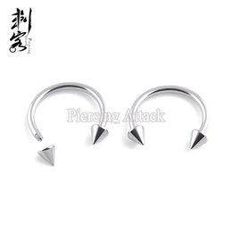 $enCountryForm.capitalKeyWord NZ - 16 Gauge Stainless Steel Spike Horseshoe Circular Barbell Basic Body Jewelry Lip Rings Free Shipping 100 pcs per lot