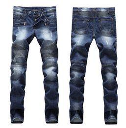 Jeans skinny pour hommes en difficulté déchirés de créateur de mode pour hommes