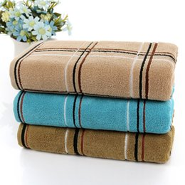 wholesale cheap bath towels UK - 2016 Cheap Free Shipping Factory Wholesale Cotton Towel 40 * 90 Thick Extended 170 Grams Of Dark Squares Bath Towel Fitness Towel HY1256