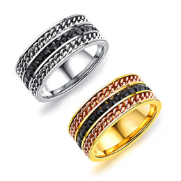 15b14d6a6d0 Silver Gold Colour 9mm 316L Stainless Steel Ring Engagement Wedding Double  chain Rings For Women Men Jewelry Anillos