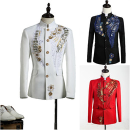 Mens Chinese Tunic Suits Canada - High-end Customized Black Red White Mens Prince Suits Chinese Tunic Suit Paillette Embroidered Medieval Mens Period Costume