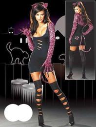 Nights Costume Canada - 20% Off Hot Seller Round Neck Long Sleeve Dark Night Cat Fancy Dress Sexy Costume W8374