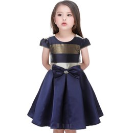 princess style dresses for toddlers UK - Children Clothing Baby clothes Kids girl stripe Sleeveless Big bow tutu Princess Dress for Toddler Girl Party and wedding