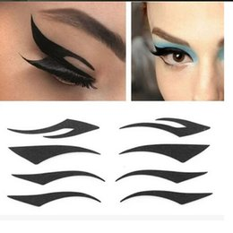 Autocollants Pour Tatouage Des Yeux Gros Pas Cher-Vente en gros-4 paires d'yeux Smoky Tattoo Eye yeux noirs Eyeliner Style Cat Sexy Double Eyeshadow double paupière Outils de maquillage