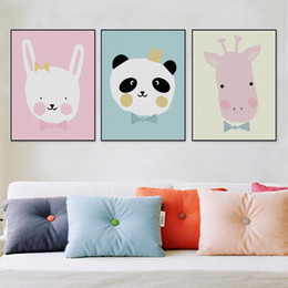 Baby Posters Canada - Modern Kawaii Animals Lion Canvas A4 Poster Print Cartoon Nursery Wall Art Picture Kids Baby Room Decor Canvas Painting No Frame