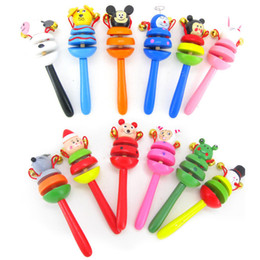 Wholesale Lovely animals Toy Baby Toy Handle Wooden Activity Bell Stick Shaker Rattle