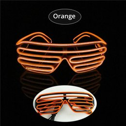 $enCountryForm.capitalKeyWord Canada - Orange EL Glasses EL Wire Fashionable Neon LED Light Glowing Sunglasses Rave Costume Party DJ Multiple Colors Black Frame