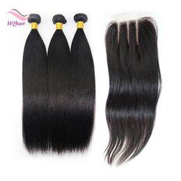 Venta al por mayor de Barato 7A paquetes de cabello humano peruanos con cierre recto del pelo humano tejido armadura de cierre con el pelo del bebé libre medio 3 parte de la manera