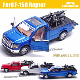 kids motorcycle metal NZ - For Ford F-150 Raptor 1:32 Scale Diecast Alloy Metal Car Model Collection Model Pull Back Sound&Light Toys Car With Motorcycle