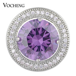 Jewelry stone material online shopping - VOCHENG NOOSA mm Luxury CZ Stone Round Snap Button Brass Material Colors Glam Interchangeable Jewelry Vn
