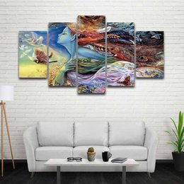 Pictures Decorated Living Rooms NZ - 5 Panel Canvas Wall Art Painting Colorful Girl Artistic Prints Modular Picture for Home Decoration Living Room Decorate Bedroom
